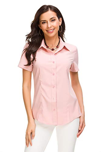 JMSHIHUA Womens Basic Simple Button Down Shirt, Pink, Large