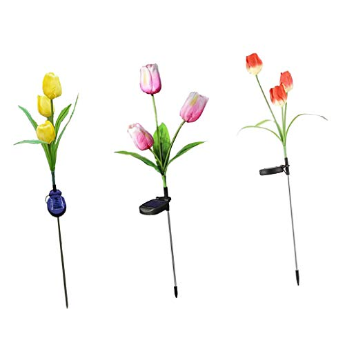 Solar Power Tulip Flower LED Light Garden Path Way Landscape Lamp ()