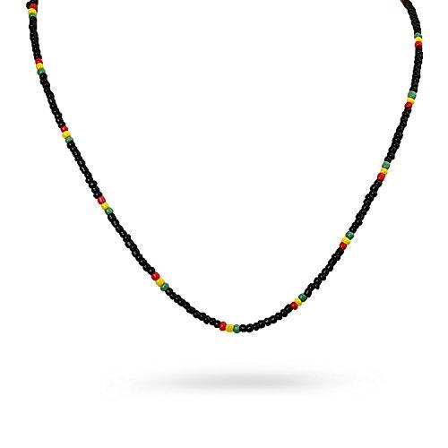 Necklace Small Beads Rasta Rastafari Colored Hand Crafted Strand ()