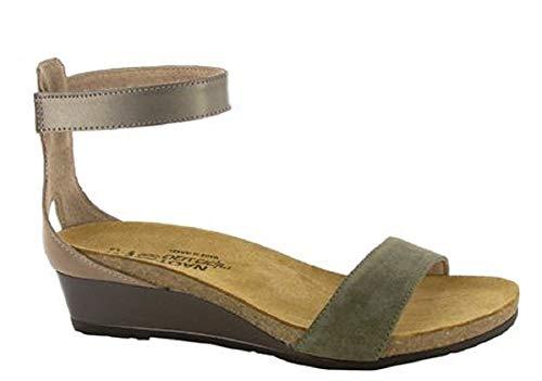 (NAOT Footwear Women's Pixie Wedge Sandal Olive Suede/Tan Lthr Combo 7 M US )