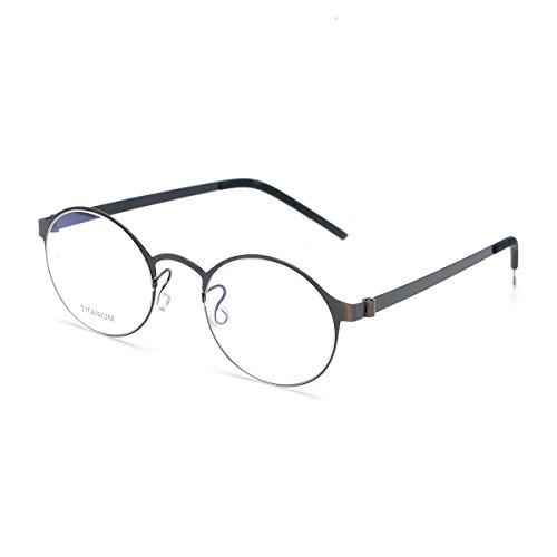 SO SMOOTH WIND B-Titanium Light Eyeglasses Frame Round Screwless Glasses Prescription Eyewear Frame R1104(Bronze,Demo clear - Medical Glasses Eye