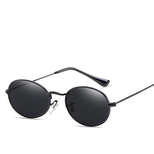 hombre mujer metal de espejo gafas TL redondo para Óvalo UV400 pequeño negro de bastidor sol Sunglasses Ow8n4tq1x4