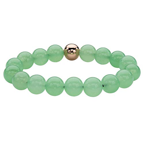 14K Yellow Gold-Plated Stretch Bracelet (11mm), Round Bead Genuine Green Jade, 7