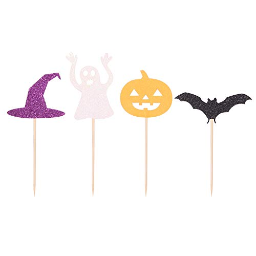 Pack of 24 Halloween Cupcake Toppers Ghost Pumpkin Bat Witch Hat Themed Party Decorations]()
