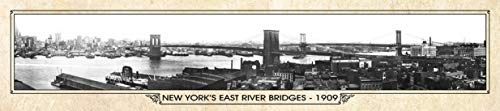 New York 1909 Vintage Panorama Metal Print, New York Panorama, Historic Downtown New York Map Sign, Vintage Brooklyn Bridge Image, New York