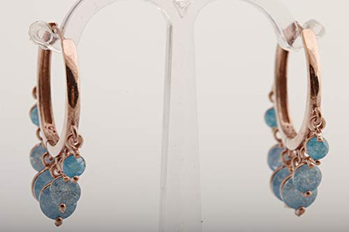 Style Rose Earrings - Shakira Style! Turkish Handmade Jewelry Round Cut Blue Ice Turquoise Rose Gold 925 Sterling Silver Hoop Earrings