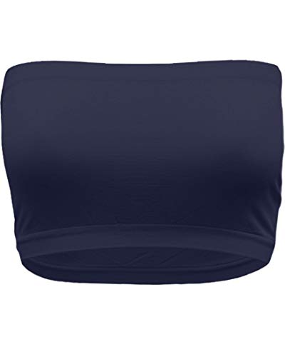 - TL Women's Single 8 Inches Strapless Seamless Active Base Layer Bandeau Tube Top B01 Navy Plus Size
