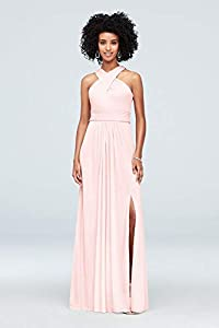 David's Bridal Crisscross High-Neck Mesh Bridesmaid Dress Style F19952