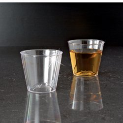 1 OZ. CLEAR ELEGANT PLASTIC SHOT GLASS/CUP 50/50 2500CS