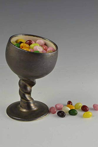 (Goblet Handmade, Pottery Wine Glass, Ceramic Candy Dish, Stemmed Pottery Candy Dish, Metallic Angled Goblet, Handmade Pottery, Ceramics)