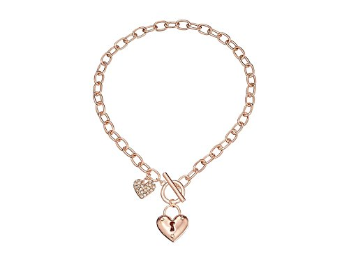 (GUESS Heart Lock Charm Toggle Link Charm Bracelet)