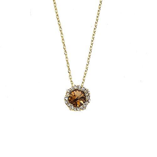 Collection Bijoux 14K Gold Plated Shell Pendant With Light Colorado Topaz Swarovski Stone - Light Colorado Topaz Gold Plated
