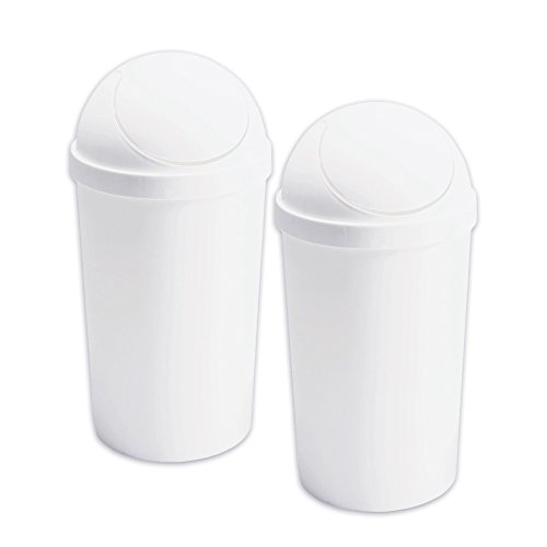 Set of 2 - TrueCraftware White Plastic 12 Quart Swing-Top Wastebasket (Trash Can Swing Lid compare prices)