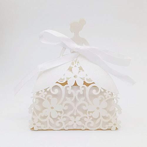 YURASIKU 25pcs Bride Laser Cut Wedding Favors Box Romantic Princess Candy Box for Baby Shower Bridal Shower Engagement Party