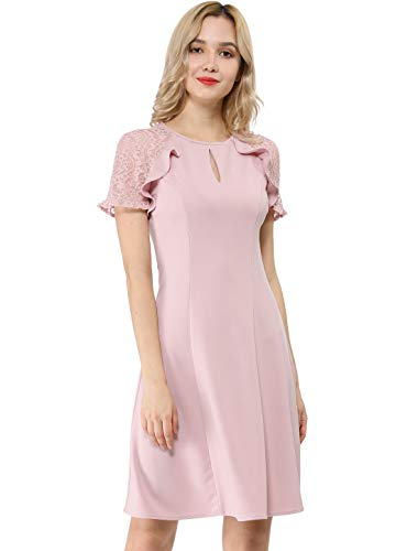 - Allegra K Women's Keyhole Ruffle Lace Sleeve Fit and Flare Dress S (US 6) Pink
