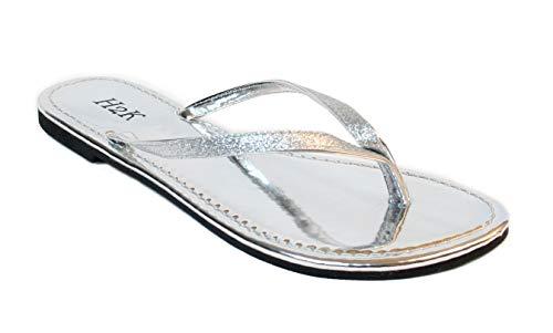 Women's Glitter Casual Flat Thong Flip Flops Sandals Sassy (6, - Glitter Sandals Silver