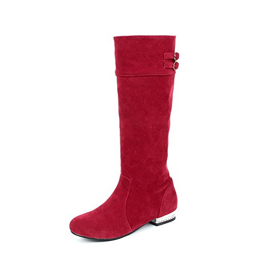 Closed Red Low Imitated Pull Suede Round Solid Women's Allhqfashion On Heels Toe Boots IH674wRHqW