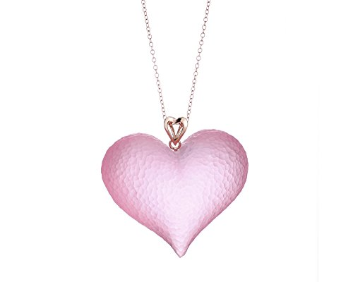 - Gold & Honey 1995 Handcrafted Pink Lucite Heart Pendnat Necklace on a Silver Chain