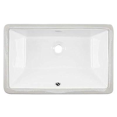 "KINGO HOME 20.9"" x13.6"" x7.1"" Porcelain Ceramic Rectangular Lavatory Vanity Undermount Bathroom Sink with Overflow"