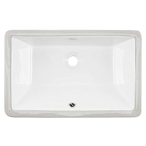 - Friho 20.9''x13.6''x7.1'' Modern Sleek Rectangular Undermount Vanity Sink Porcelain Ceramic Lavatory Bathroom Sink,White With Overflow