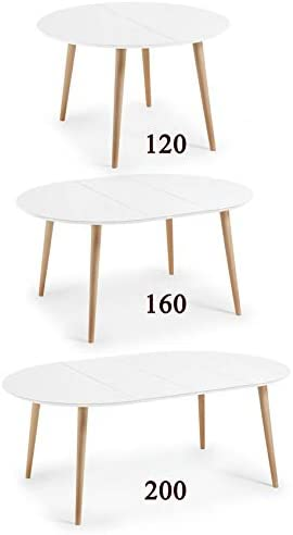 HABITMOBEL Mesa Comedor Extensible de 120 a 160 a 200 x 120 cm (3 ...