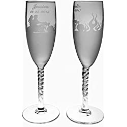 2 Personalized Etched Flames Motorcycle couple Toasting Champagne Wedding Flutes Glasses