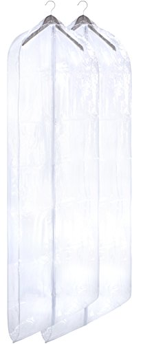 Clear Vinyl Garment Bag - Protect your Clothing while Traveling and Dust Free while Hanging in your Closet. These Garment Bags are ideal for Coats, Suits, Dresses or Gowns - Set of 2 (24 X 65 Inches)