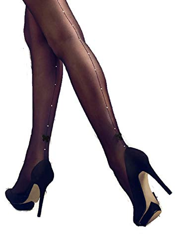 (Patrizia Gucci designed for Marilyn w/Rhinestones & Satin Bow Pantyhose (Black,)