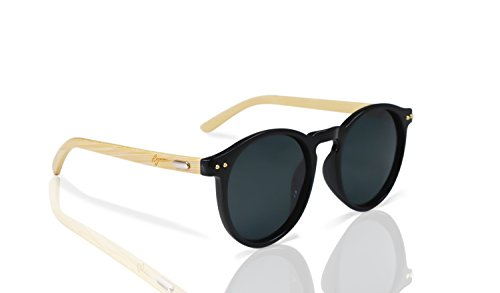 Bamboo Sunglasses by Reys: Round Frame Polarized UV Lenses with Wooden Arms