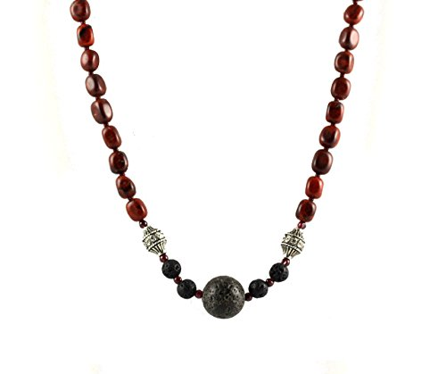 Wine and charcoal Gray Jasper, Lava, Bali silver Necklace. One-of-a-kind -