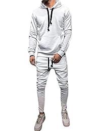 Lutratocro Men's Hooded Sweatshirt Pants Contrast Color Sportwear Tracksuit Set