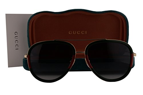 Gucci GG0062S Sunglasses Green Red Gold w/Gray Gradient Lens 003 GG - Gucci 2017 New Glasses