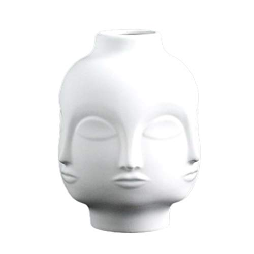 SODIAL Artists,Potted Plants,Potted Plants,Garden Decoration,White Pottery Vase Female Avatar White Ceramic