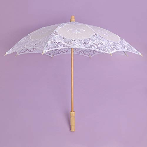 Longay Lace Embroidered Sun Parasol Umbrella Bridal Wedding Dancing Party Photo Show (White) by Longay (Image #1)