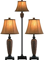 7 x 12 x 27 Hammered Bronze 7 x 12 x 27 All The Rages Elegant Designs LC1000-HBZ Three Pack Lamp Set 2 Table Lamps, 1 Floor Lamp