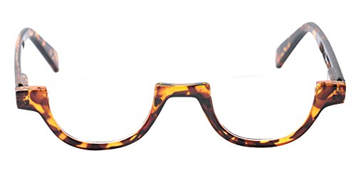 SOOLALA Womens Modern Designer Flat Top 42mm Half Lens Quality Reading Glasses, Leopard, 2.5 ()