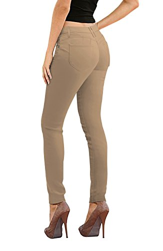 (Women's Butt Lift Stretch Denim Jeans-P37373SK-KHAKI-11)