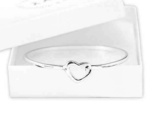 Elegant Open Heart Bangle Bracelet (Retail)