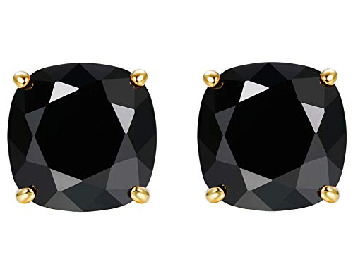 Square Charm Swarovski Crystal - Sllaiss Essential Small Square Crystal Stud Earrings for Women 10MM White Pink Black Crystals from Swarovski, Sterling Silver Studs Hypoallergenic for Sensitive Ears Fashion Jewelry Gift for Her