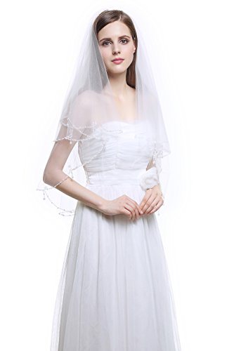 [MISSYDRESS 2 Tier Fingertip Tulle Bridal Wedding Veil Beaded Edge with Comb-V24-Ivory] (Gothic Bride Halloween Makeup)