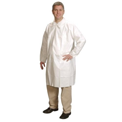 Alpha Pro Tech LC-J2621-6 Critical Cover ComforTech Lab Coat with 3 Pockets, Tapered Collar and Snap Closure, Elastic Cuff, 3X-Large, White (Case of 25) ()
