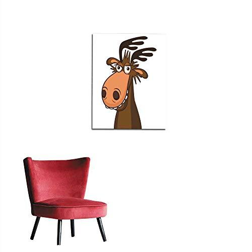 longbuyer Mural Decoration Moose On The Loose Moose Face Picture Cartoon Smile Deer Vector Mural 24