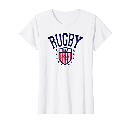 Usa Rugby Shirts - Womens Vintage Rugby USA Eagle T-shirt Large White