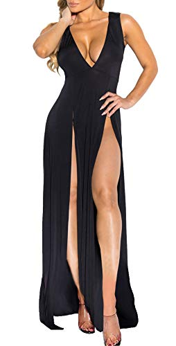 Womens Bandage Side Split V Neck Sleeveless Bodycon Clubwear Maxi Vest Dress Black M (High Split Maxi Dresses For Women)