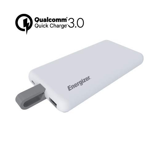 - Energizer UE8002CQ Ultimate Power Bank 8000mAh with Built-in USB Type-C Cable, 3.0Quick Charge, 2 Dual Port for Smartphones & Tablets (White)
