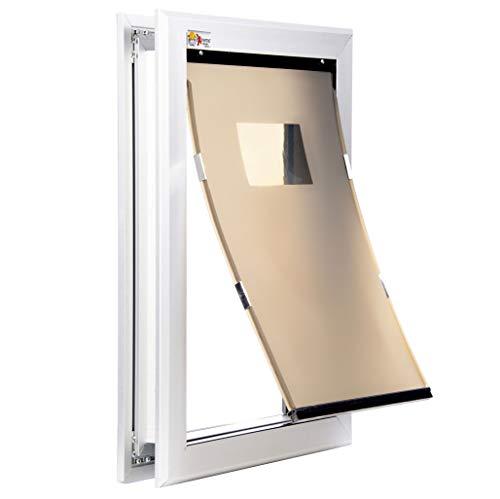 Medium Silver Dog Door - Single Flap Door Mounted Energy Efficient Doggie Door and Shatter Resistant Locking Security Plate - Rugged Aluminum Frame Construction ()