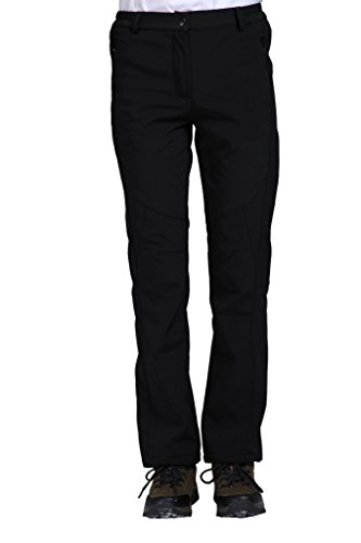 Geval Women's Outdoor Hiking Pants Softshell Fleece Snow Pants(M,Black) - Wet Weather Rain Pants