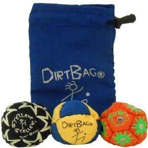 Dirtbag Classic Footbag//Hacky Sack with Pouch Blue//Black