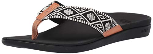 Reef Women's Ortho-Bounce Woven Sandal, Black/White, 070 M US