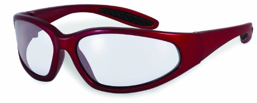 SSP Eyewear Safety Glasses with Red Frames and Clear Anti-Fog Shatterproof Lenses, NACHES RED CL A/F